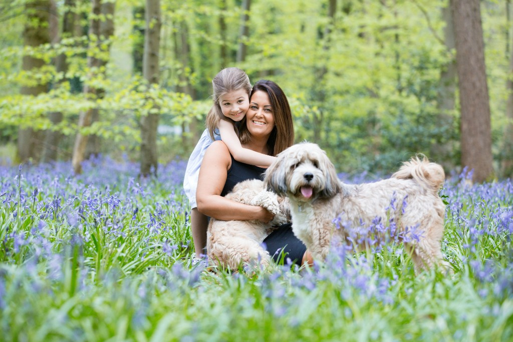 Daughter holding her mother from behind while her mother is sitting in a bluebell field with their two Bolonka dogs at Whippendell Woods taken by Hertfordshire family photographer Natalie Chiverton Photography