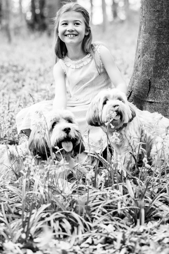 Black and white photo of a beautiful young girl and her two Bolonka dogs sitting in the grass next to a tree at Whippendell Woods taken by Hertfordshire family photographer Natalie Chiverton Photography