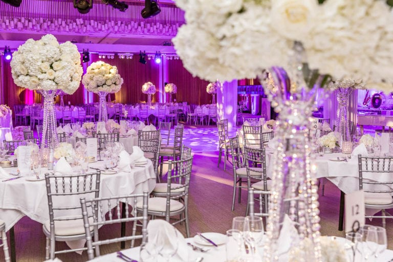 Purple lighting adds atmosphere to the Amber Room at The Grove in Hertfordshire.