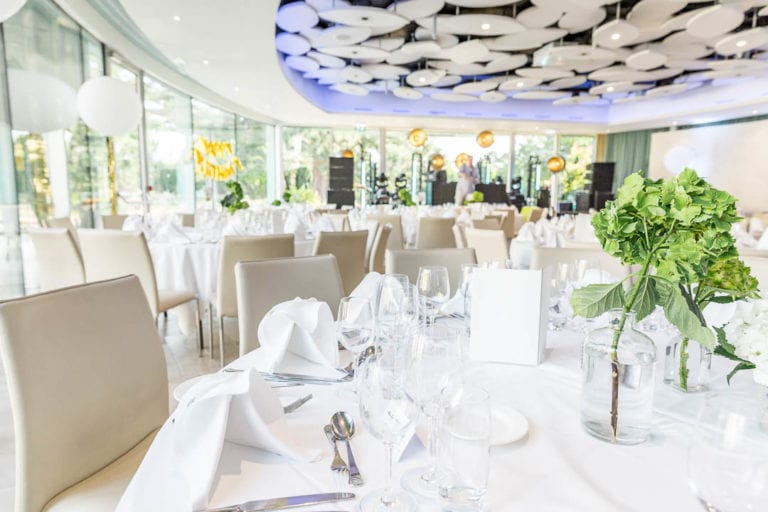The Cedar Room at The Grove in Hertfordshire. The Cedar suite takes up to 130 wedding guests and opens out onto a private terrace, perfect for summer afternoon cocktails.