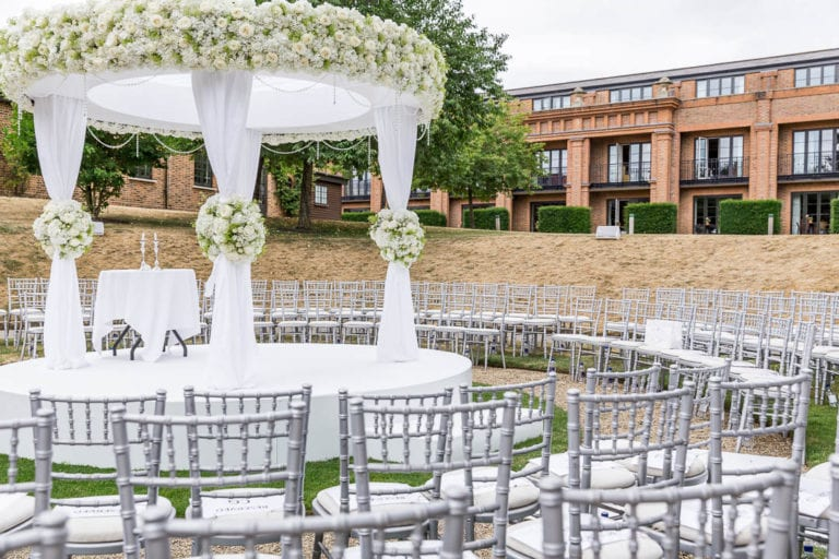Hertfordshire's The Grove's Sunken Garden ready for a marriage ceremony. Professional photographer: Natalie Chiverton.