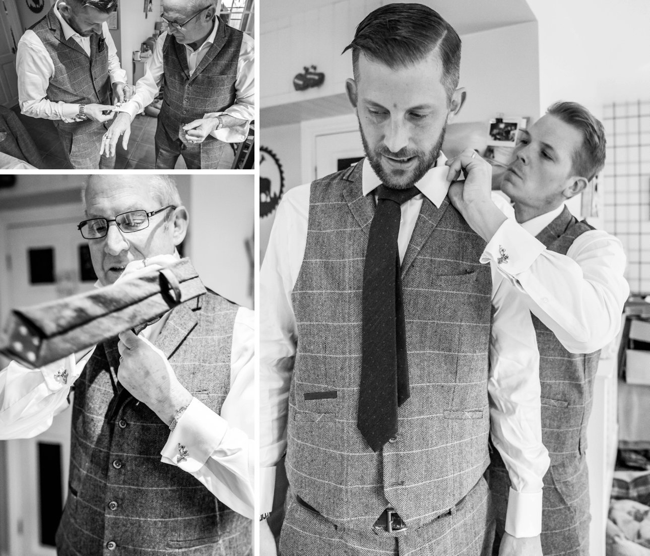 Groom getting ready on his wedding morning with the help of his best man and groomsmen. They're all wearing tweed for a country wedding at Great Tythe Barn Tetbury.