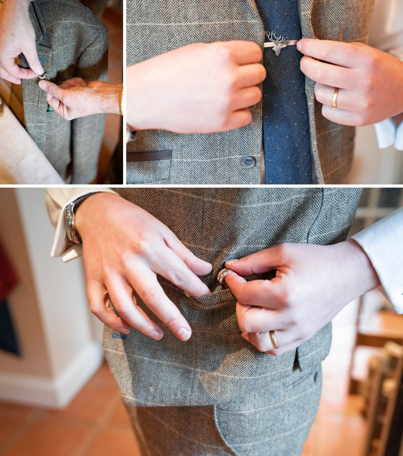 A groom and groomsmen getting ready on a wedding morning. Includes photos of the wedding rings and a gold tie pin.