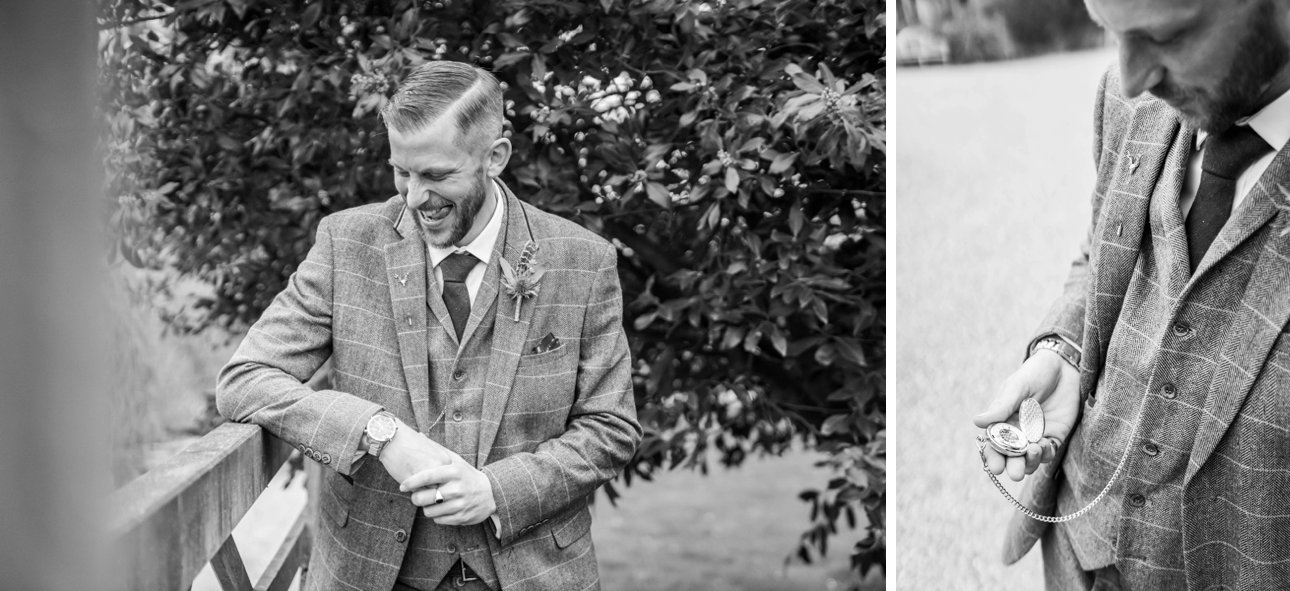Black and white photos of the groom on the wedding morning at Great Tythe Barn in Gloucestershire in front of a wooden gate in the countryside.