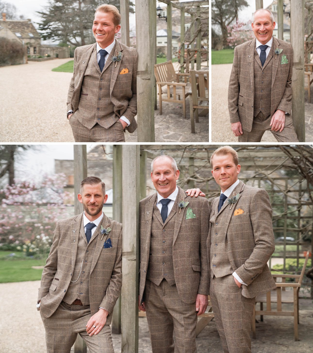 Tythe Barn Tetbury weddings - groom and groomsmen photo on the wedding morning. Photo by photographer Natalie Chiverton, who was a second shooter, allow photos to be taken of the groom getting ready while the main photographer captures the bride.