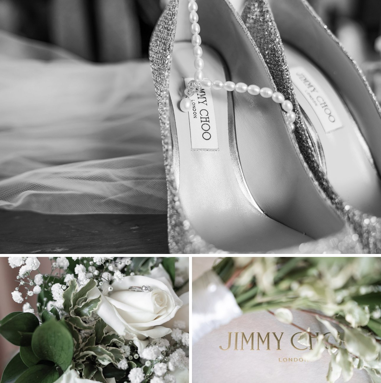 This Borehamwood wedding had shoes from Jimmy Choo, pearls from The Lido Collection and a dress from David's Bridal.