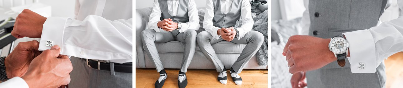 Groom and groomsmen getting ready: details of cufflinks, socks and watch.