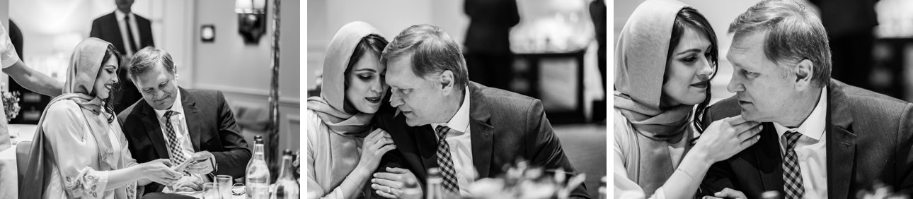 A bride has some sweet moments with her father after the wedding ceremony