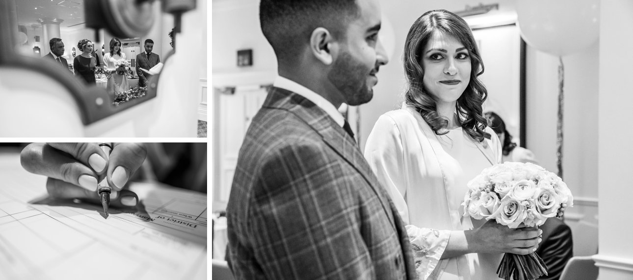 Black and white photos of a civil wedding ceremony at the Kimpton Fitzroy London hotel in Russell Square in 2019.