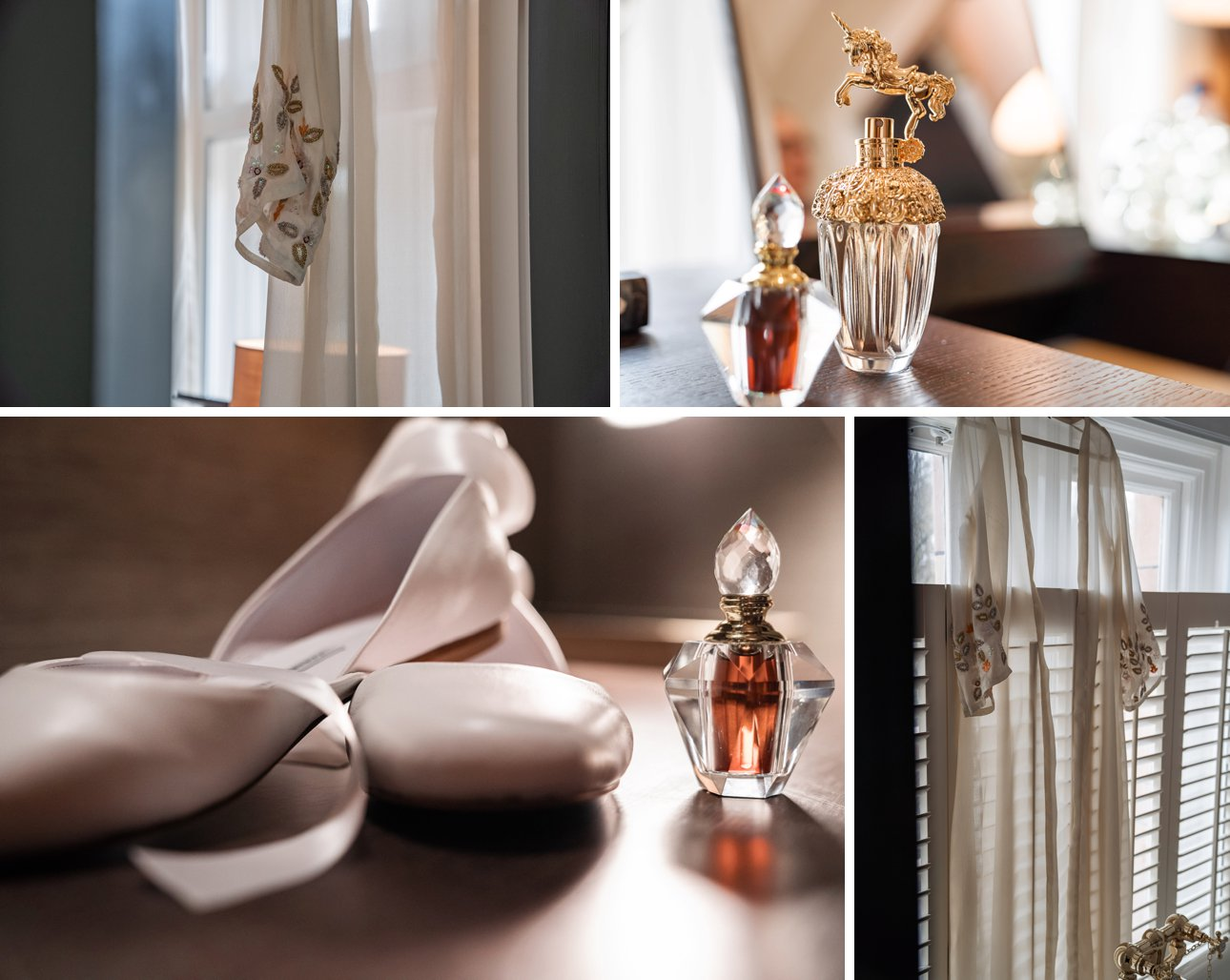 Details from a Kimpton Fitzroy London wedding including white ballet flats with ribbons and perfume.