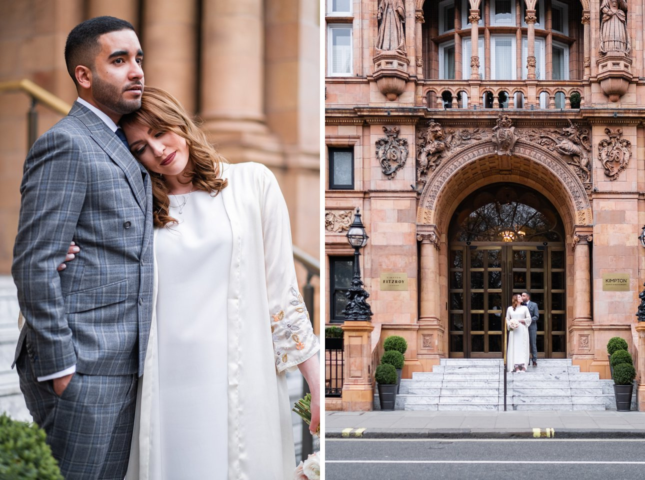 A bride leans her head on her groom's chest and the couple pose outside the Kimpton Fitzroy London hotel on Russell Square.