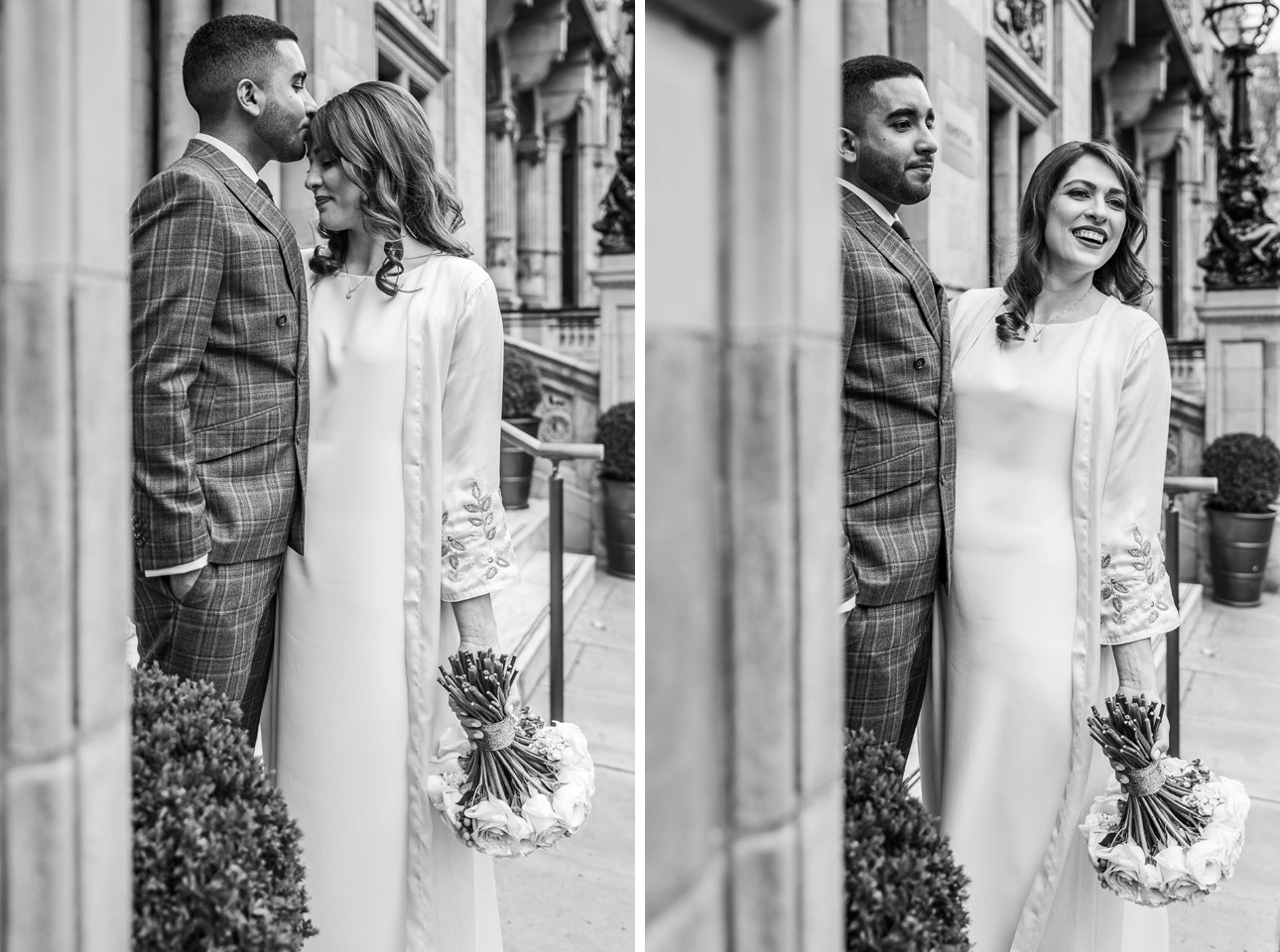Black and white portraits of a bride and groom on the streets of London in the UK.