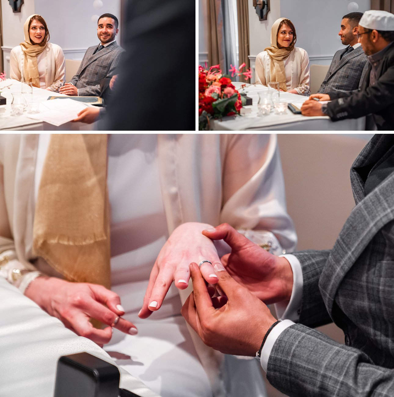 Muslim wedding ceremony with exchange of rings.