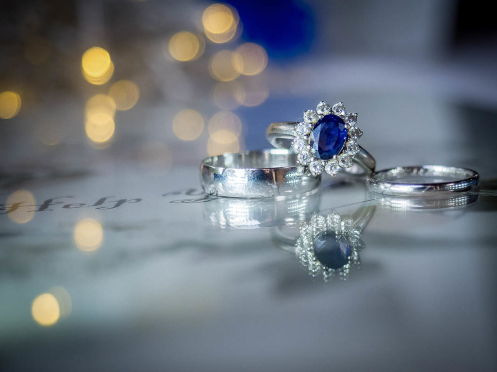 A sapphire engagement ring