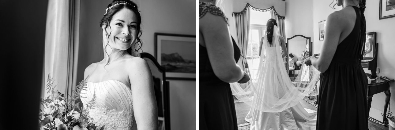 Essex bride Elisa smiles in these black and white photos before her wedding.