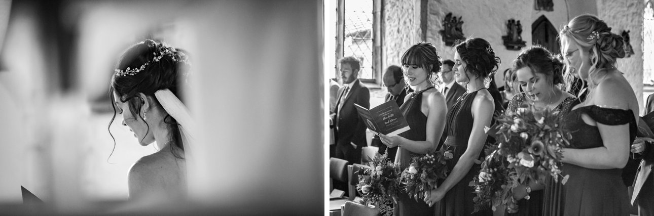 Black and white details photos of an Essex church wedding ceremony.