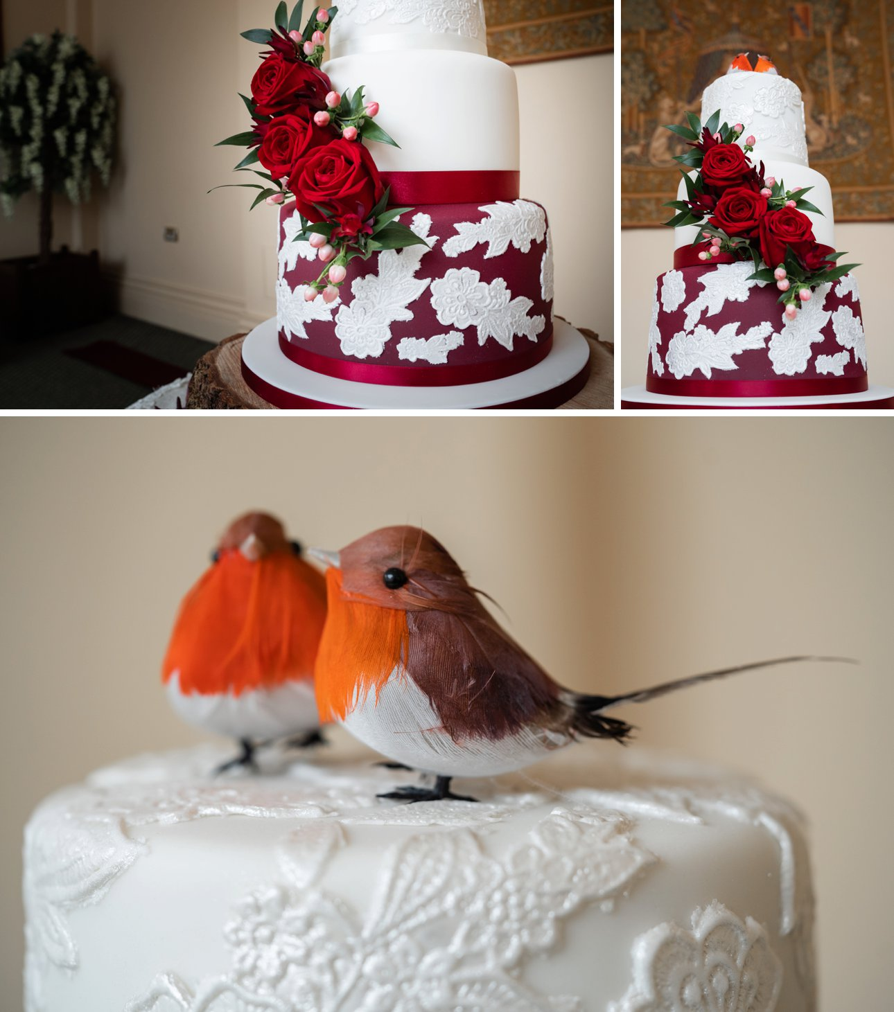 A red and white themed wedding cake by Sticky Fingers cake makers of Southend in Essex.