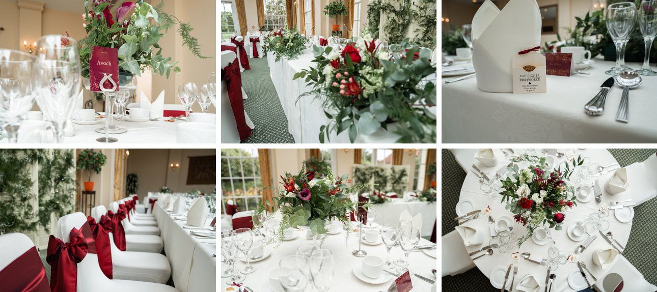 Wedding table decorations with a red and white theme in The Orangery at The Lawn Rochford. The Essex wedding venue was the location for Elisa and Karl's preparations, wedding breakfast and celebrations.