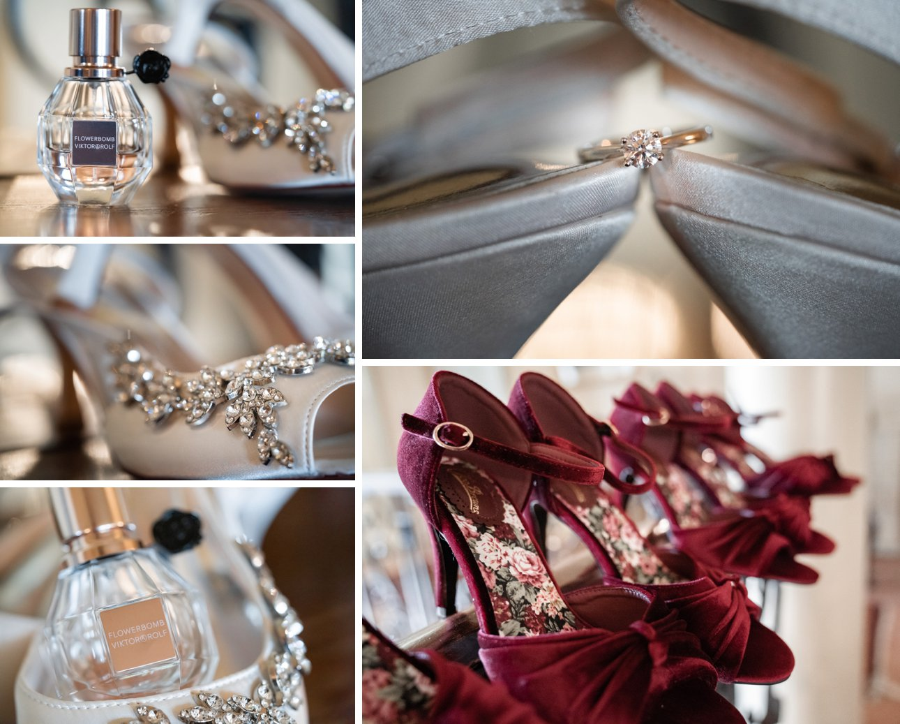 The Lawn Rochford wedding details including shoes, perfume and the engagement ring.
