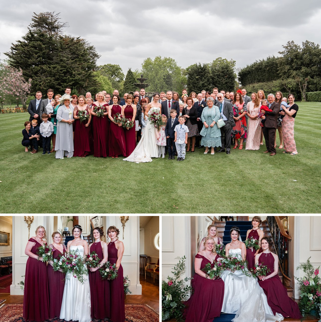 A photo of everyone at a wedding at The Lawn, Rochford.