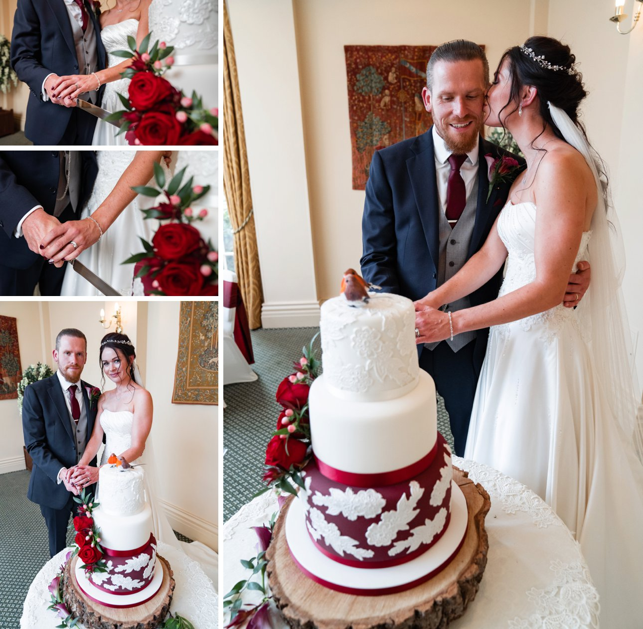 The bride and groom cut their red and white themed robin wedding cake made by Sticky Fingers cake makers, based in Southend.