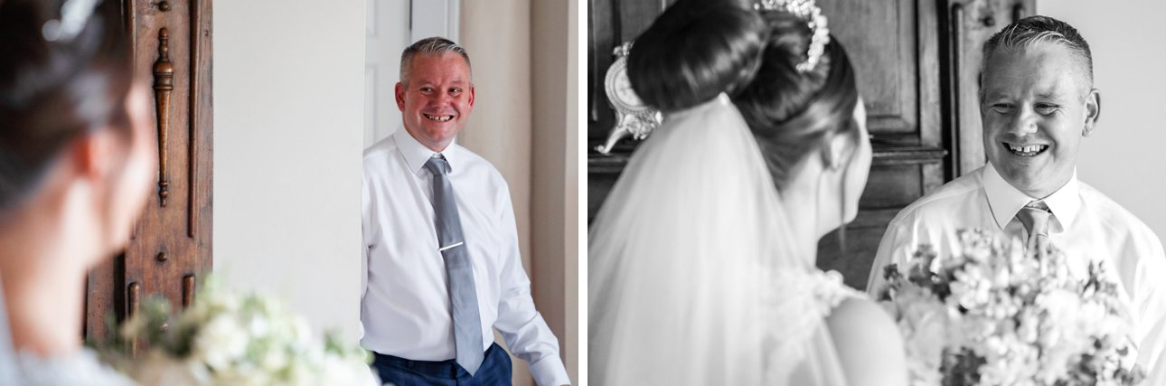 Cora's father sees her for the first time on the morning of her wedding, wearing a white dress, tiara and veil.