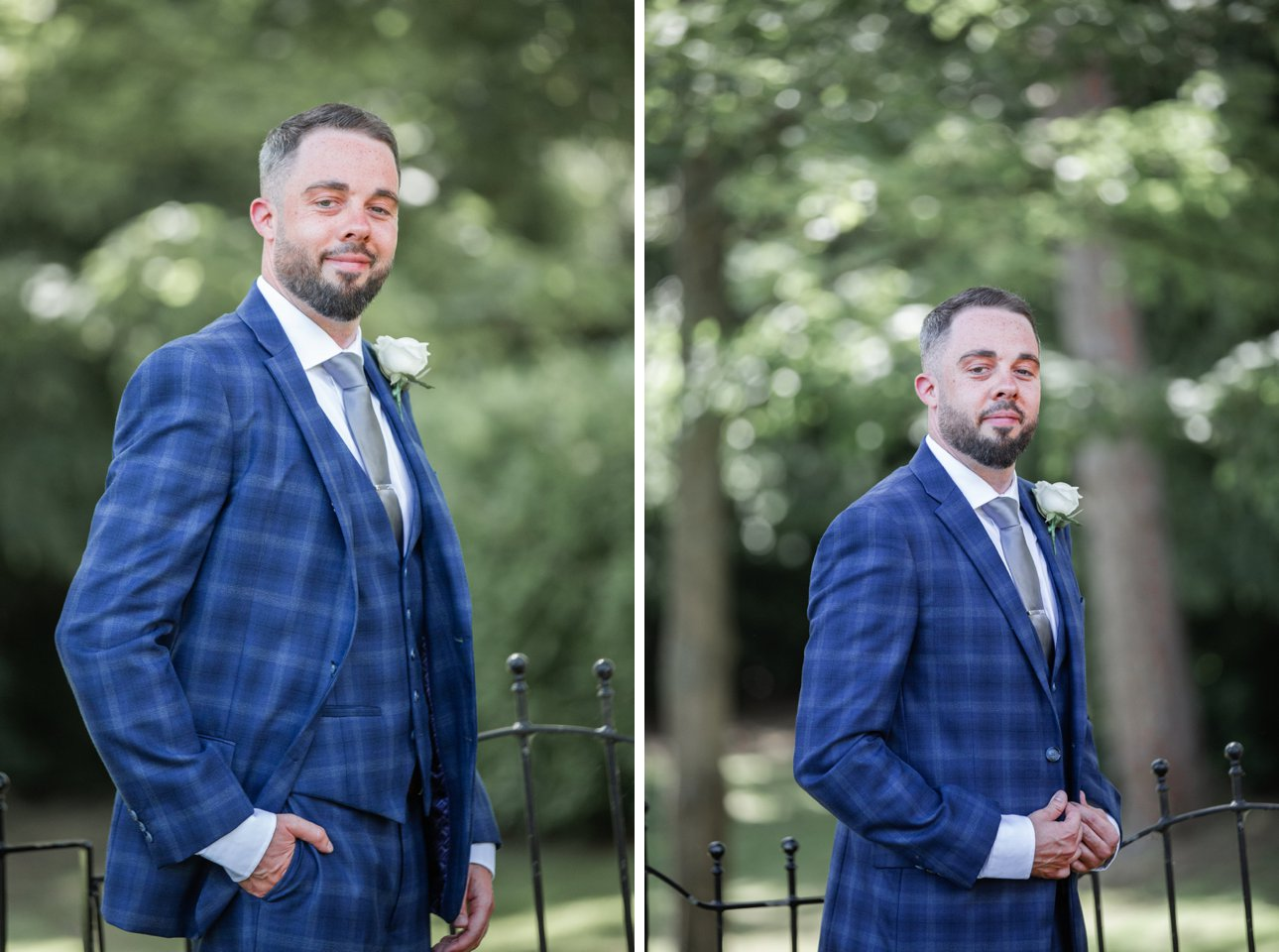 Wedding portraits of groom Andrew before his marriage to Cora at The Manor Elstree.