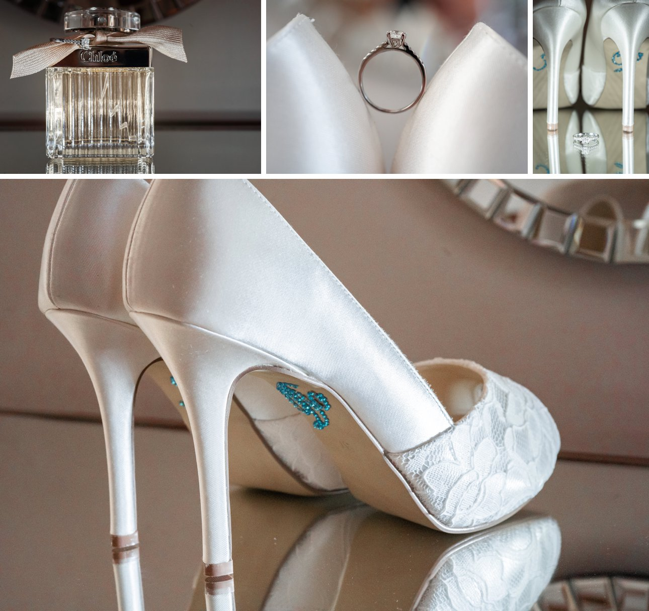 Bridal details including Chloe perfume, a white gold engagement ring and white lace wedding shoes.