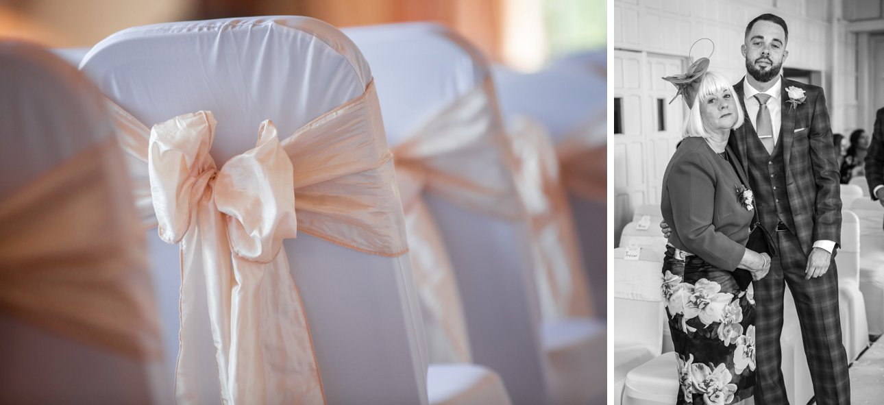 Before Cora and Andrew's wedding, apricot bows decorate white covered seating. Andrew and his mother pose for a photo.