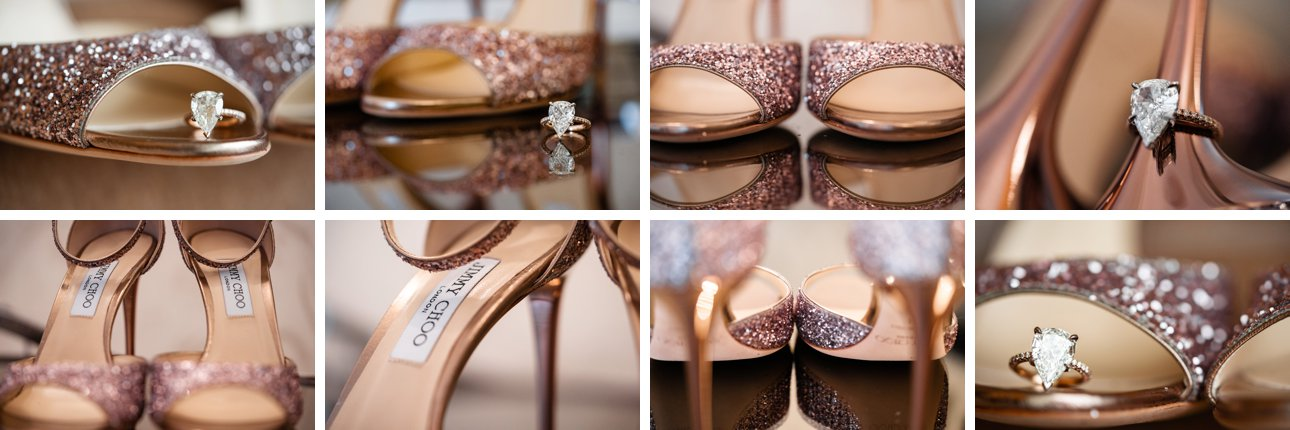 Jimmy Choo wedding shoes with rose gold stiletto heels and a teardrop engagement ring.