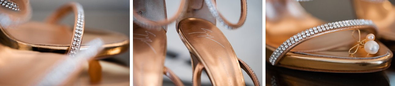 Gina wedding shoes with a bronze heel and diamante strap details.