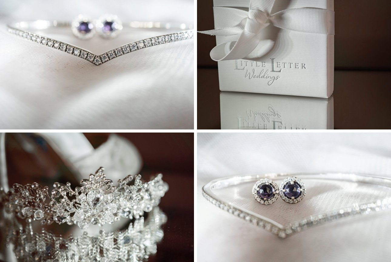 Silver wedding jewellery and tiara from a bride getting ready at The Manor Elstree in Hertfordshire.