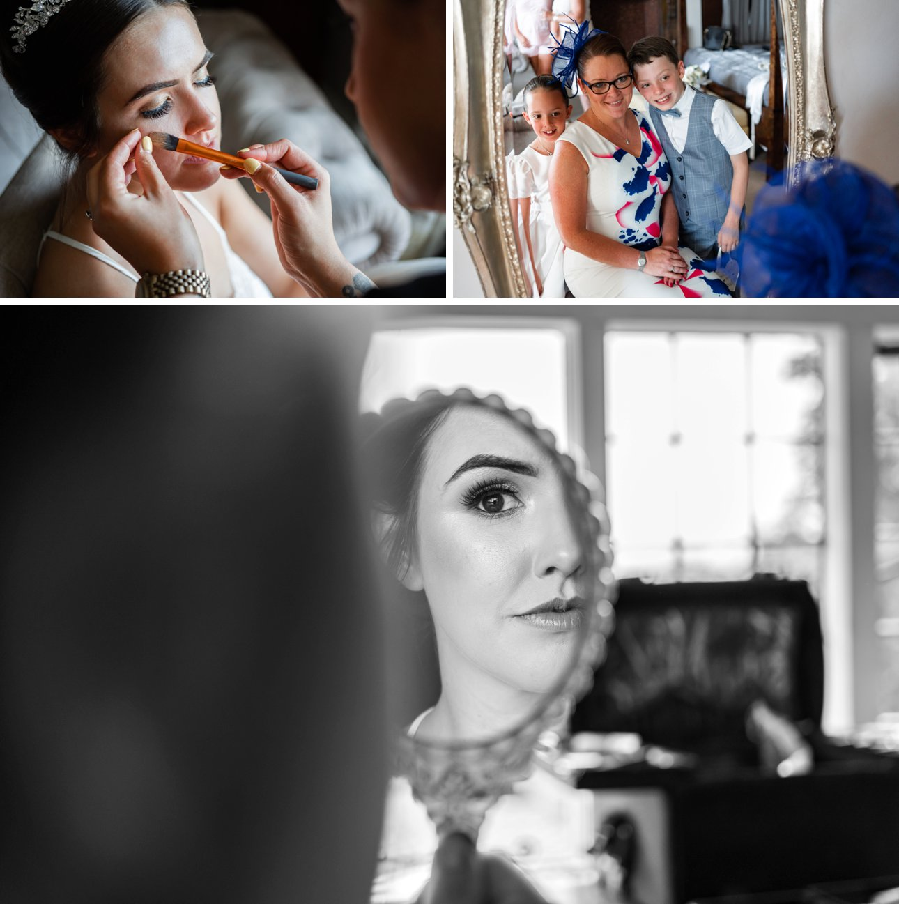 A bride gets ready for her Manor Elstree wedding on a hot summer day.