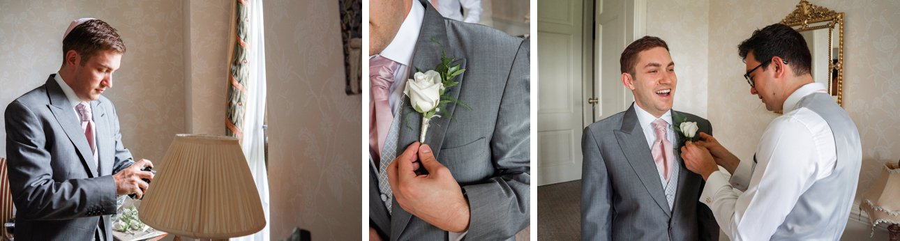 Grooms gets ready for his Jewish wedding ceremony at Stapleford Park in Leicestershire.
