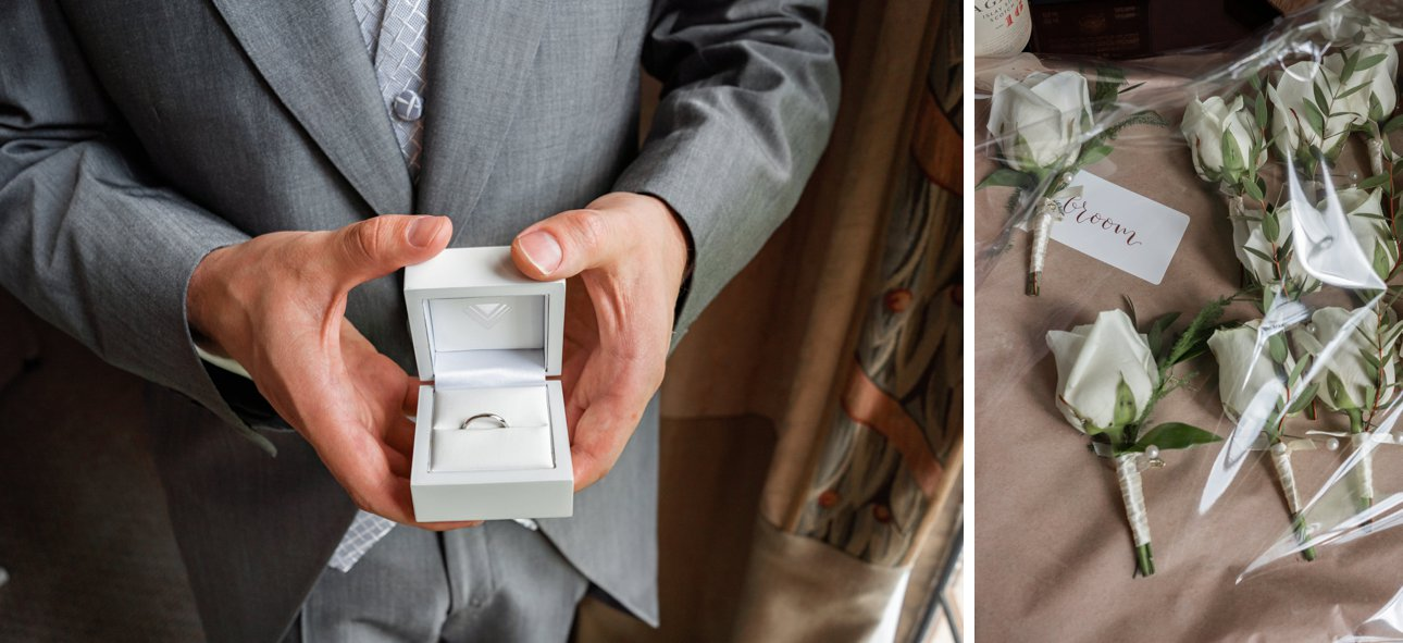 Groom Elliott shares the ring he is going to put on the finger of his bride Sonni at Stapleford Park.