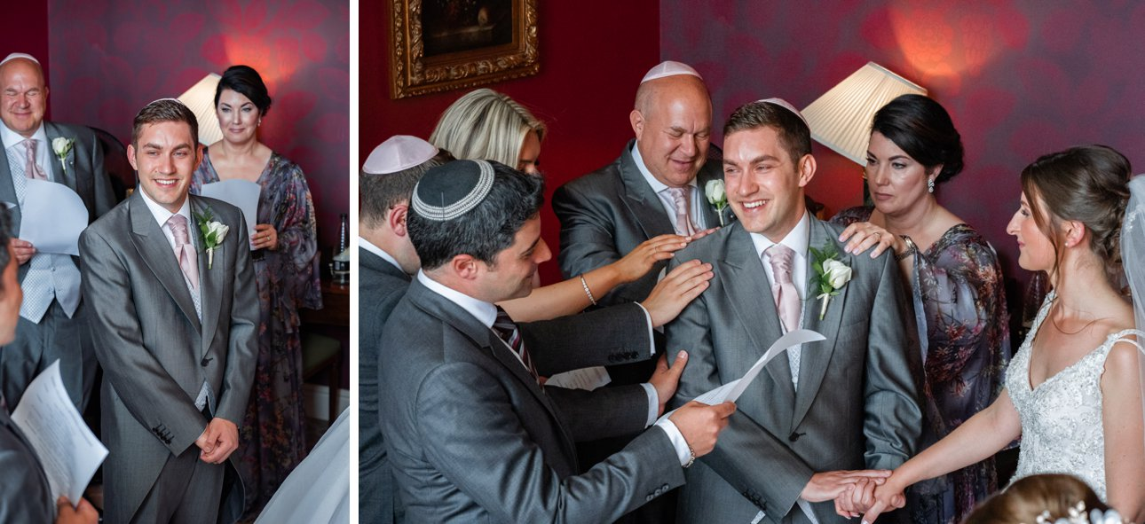 The groom and his family take part in the badeken.