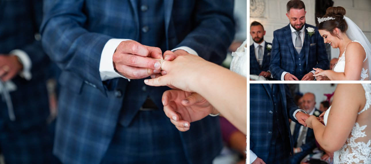Cora and Andrew exchange rings as part of their marriage vows in Hertfordshire.