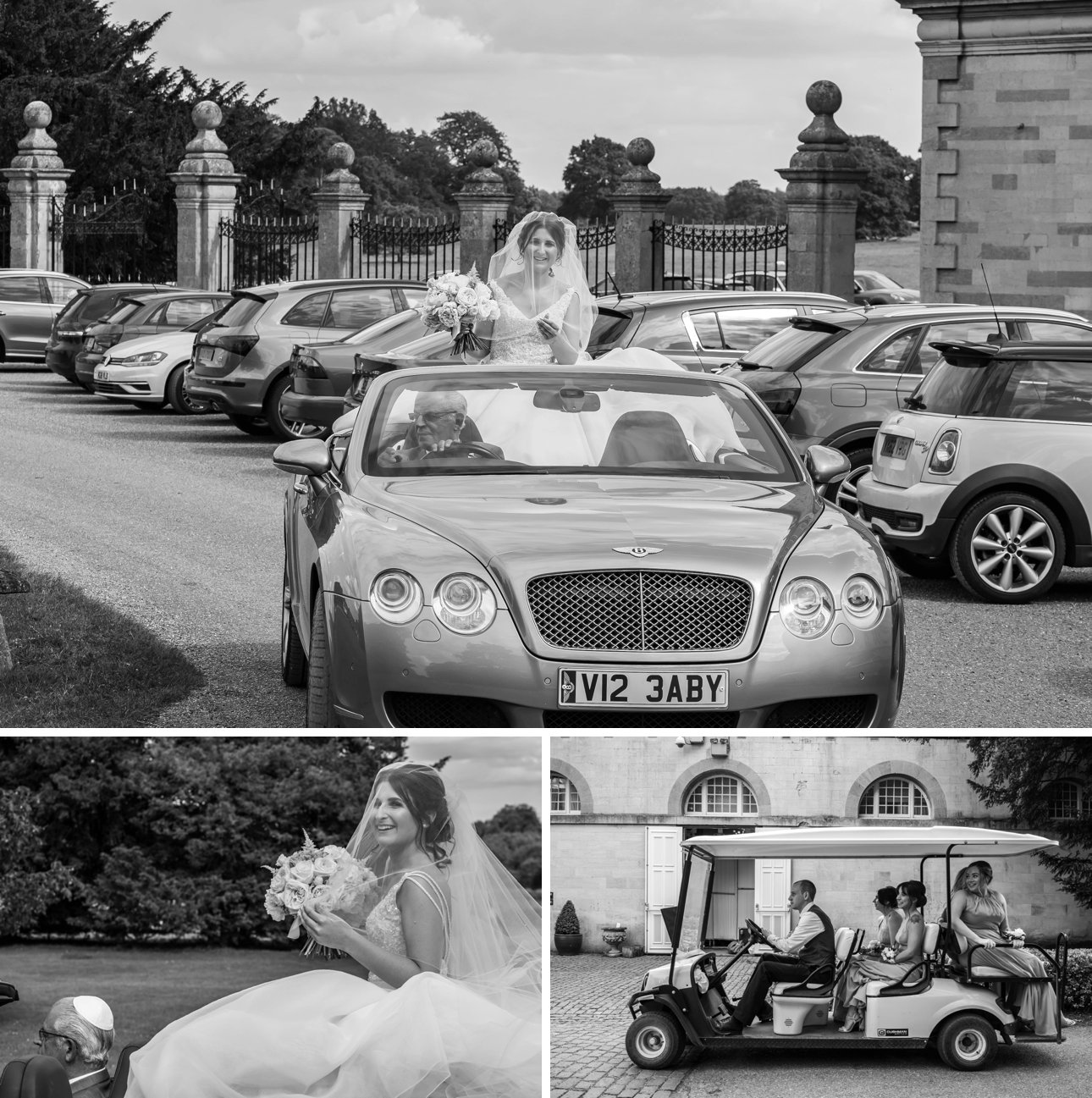 The bride rides in the rear of her father's Bentley at Stapleford Park wedding venue on the way to the chuppah part of her wedding ceremony.