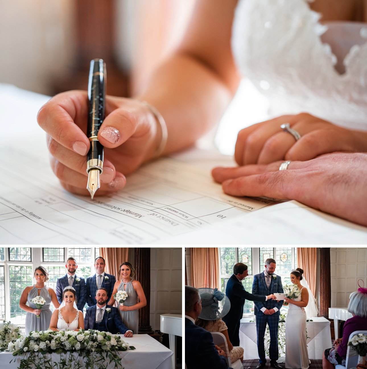 The bride and groom sign the register after their wedding ceremony at The Manor Elstree.