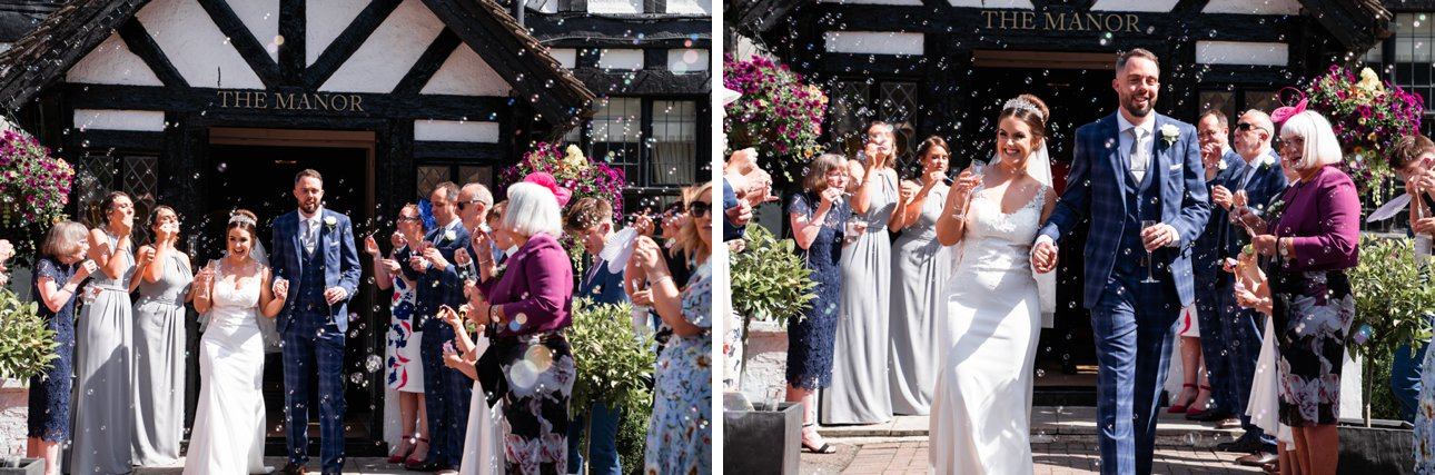 Bubbles welcome the new mister and mrs outside Hertfordshire tudor wedding venue The Manor Elstree.