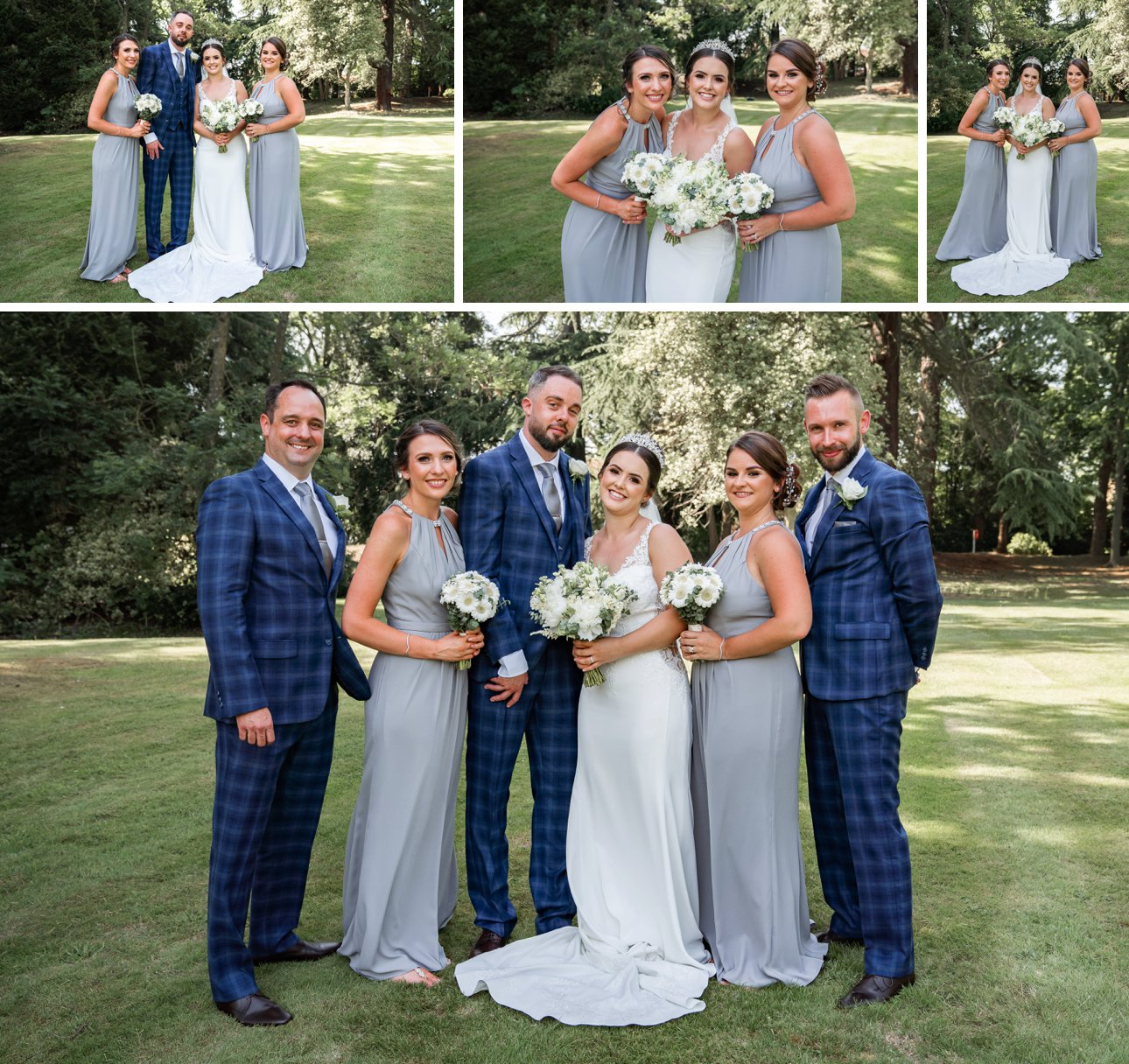 Formal wedding photos of the bridal party at The Manor Elstree.