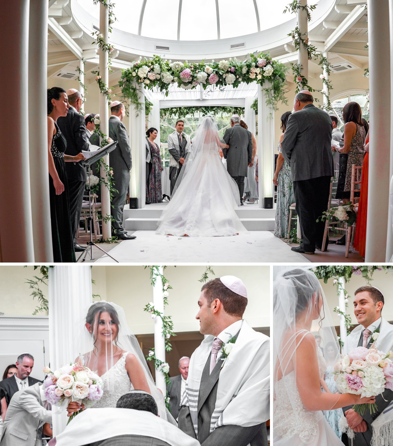 The bride, groom and their close family members gather under the chuppah for a Jewish marriage ceremony.