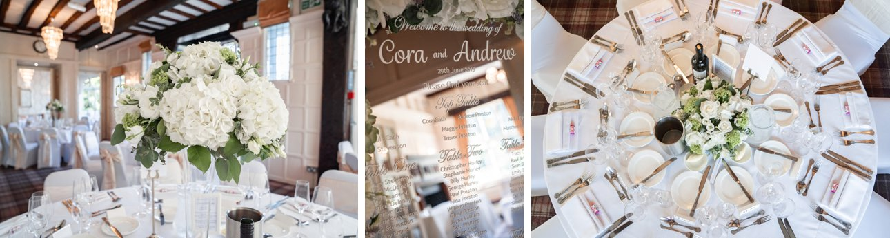 White themed table decorations for a wedding breakfast at The Manor Elstree, Hertfordshire.