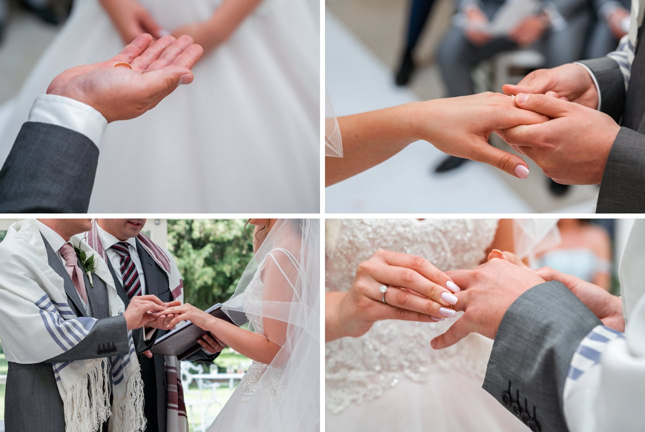The bride and groom exchange rings during their Jewish wedding ceremony at Stapleford Park.