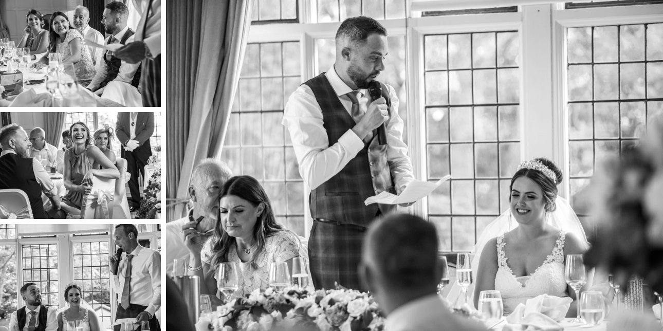 The groom makes a speech thanking the bride during their wedding breakfast at The Manor in Hertfordshire.