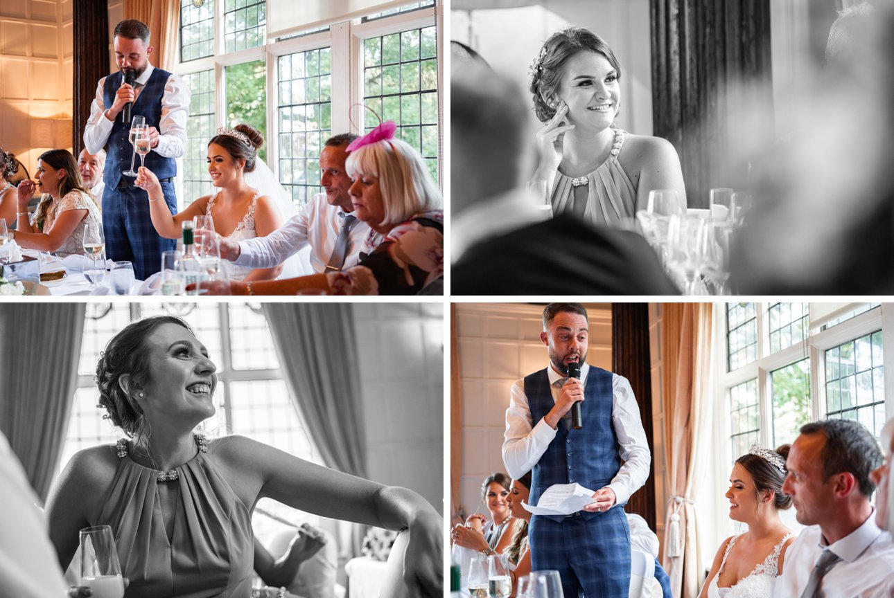 Guests raise their classes in toasts during wedding speeches at The Manor Elstree.
