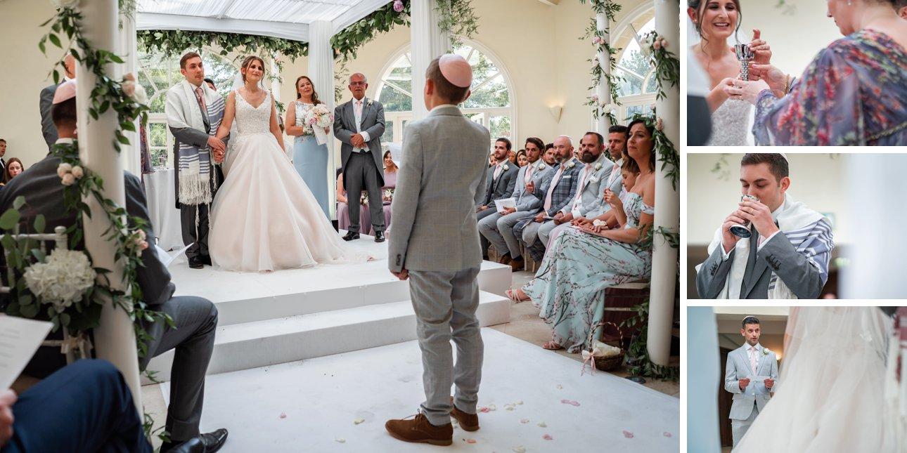 The seven blessings or Sheva Brachot are read by wedding guests while the bride and groom wait under the chuppah.