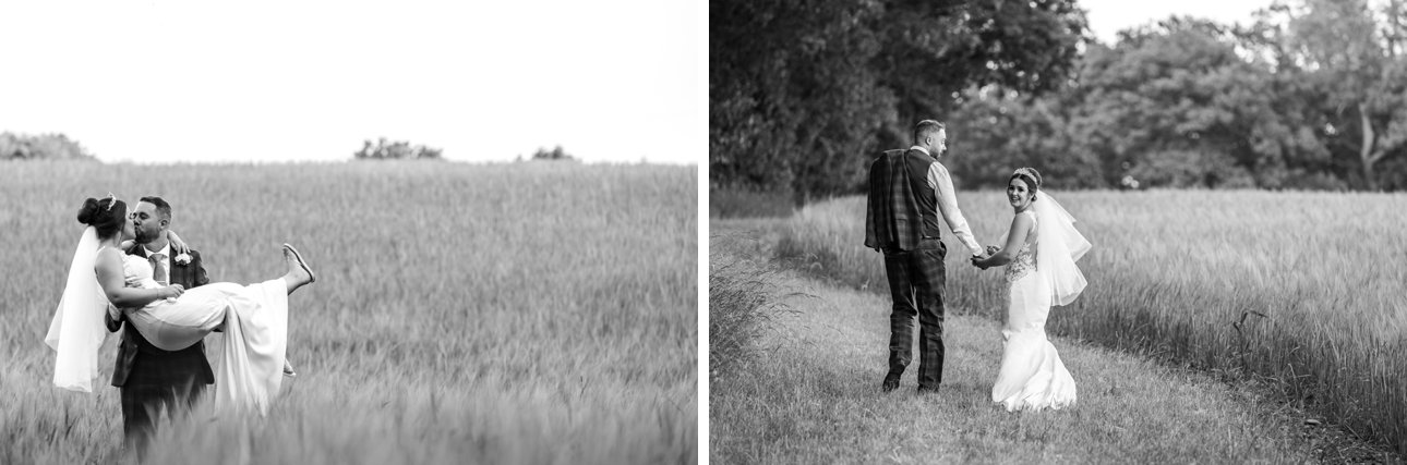 Black and white bride and groom portraits in a Hertfordshire field.