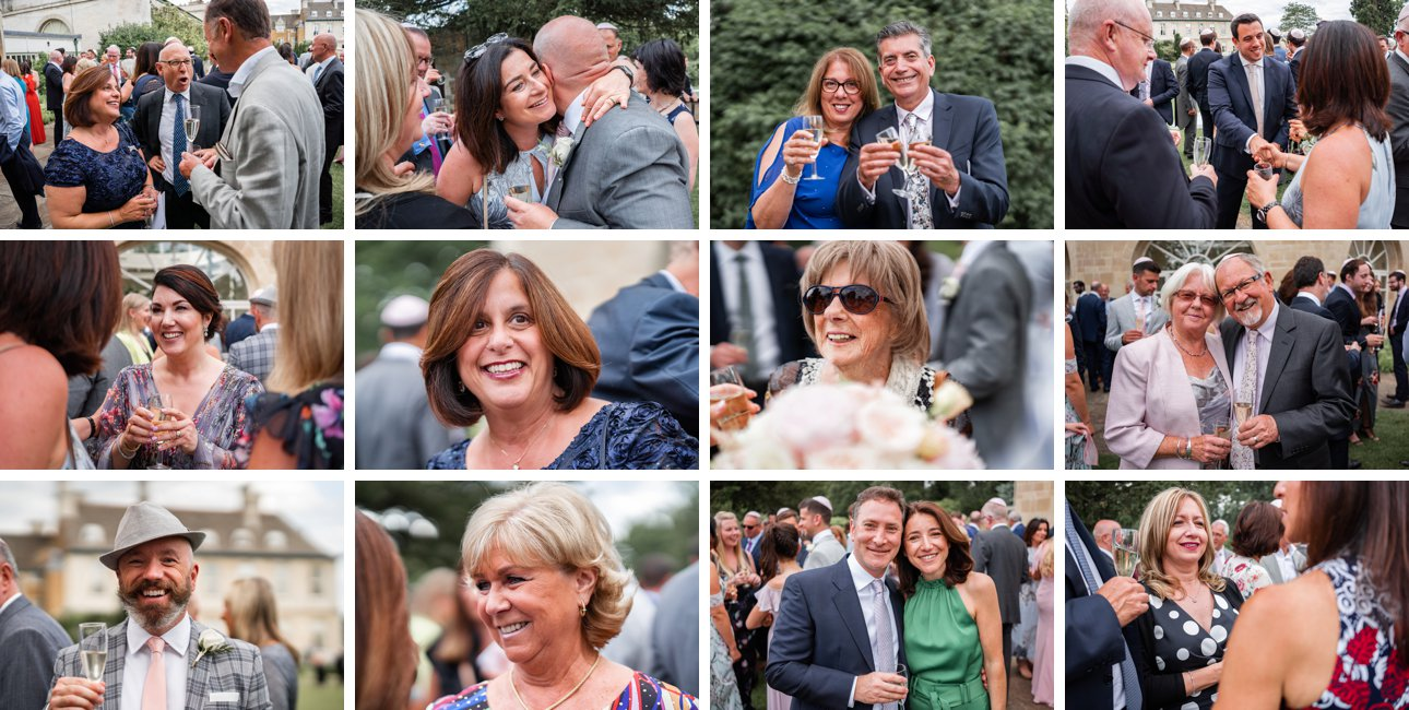 Stapleford Park wedding guests on the lawn with drinks.