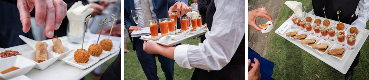 Stapleford Park wedding hors d'oeuvres on the lawn, served with multiple varieties of gin.